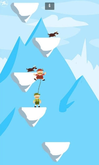 玩家们在游戏中可以操控两个人物进行攀爬任务,爬得越高获得的分数